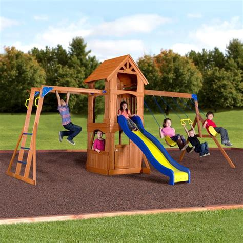 walmart playsets for backyard parkway wooden swing set playsets backyard discovery
