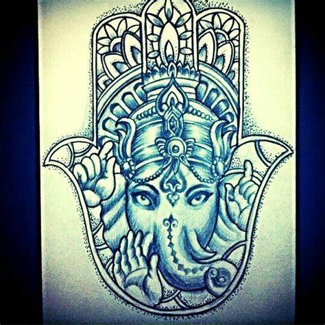 Ganesh Hamsa Tattoo   hamsa elephant ganesh indie hippie tattoo design art