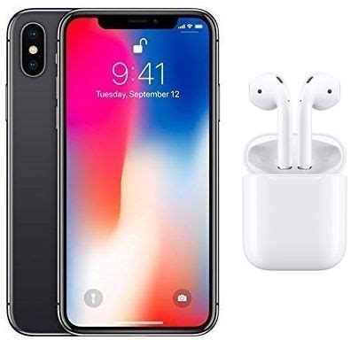 apple iphone x without facetime 64gb 4g lte space grey with apple wireless airpods white