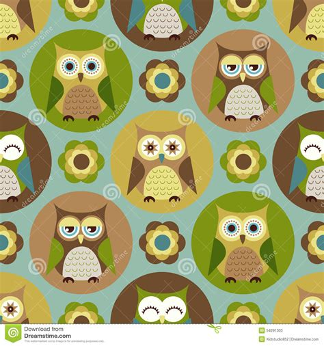 cute cartoon pattern seamless cartoon owls pattern stock vector image 54291303
