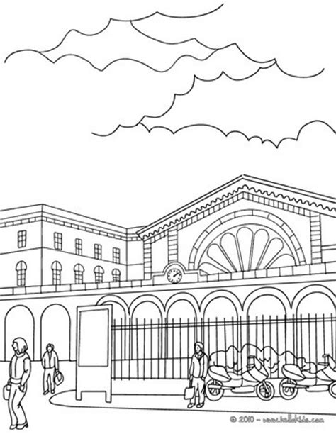 Train station outside scene coloring pages - Hellokids.com