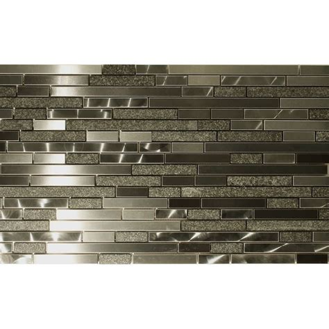 mosaic backsplash tiles stone and stainless steel marme random strip mosaic