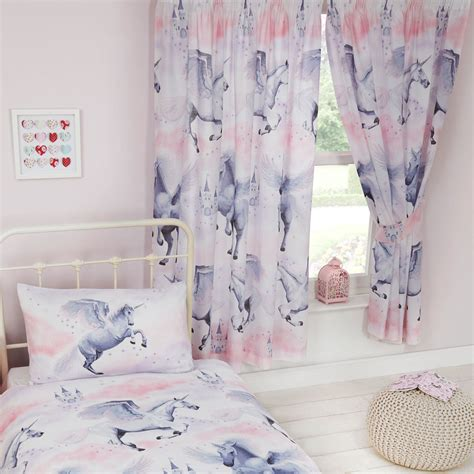 Single Bedding And Curtain Sets Stardust Unicorn Duvet Cover Sets Matching Curtains Single Junior New Ebay