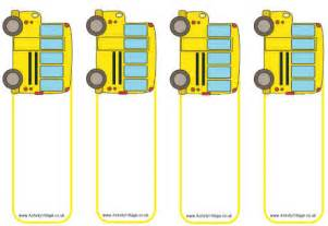 school bus bookmarks blank
