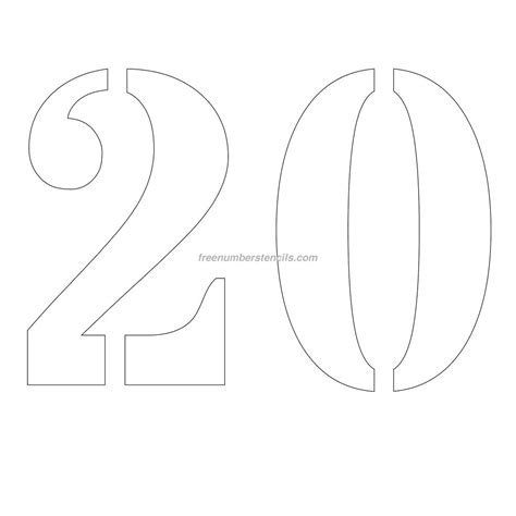 printable 12 inch number stencils free 12 inch 20 number stencil freenumberstencils com