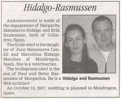 Wedding Announcement Exles For Newspaper by Wedding Announcement In Newspaper American In Spain