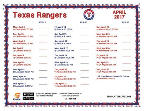 printable schedule texas rangers printable 2017 texas rangers schedule