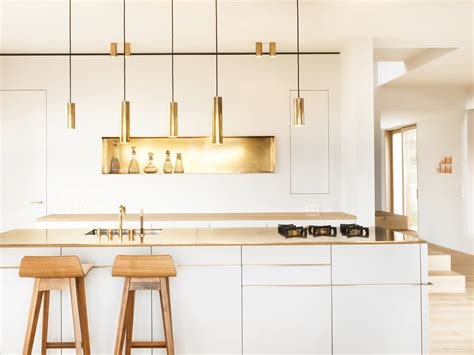 contemporary kitchen light fixtures what s 8 beautiful gold brass and hammered metal kitchens shoproomideas