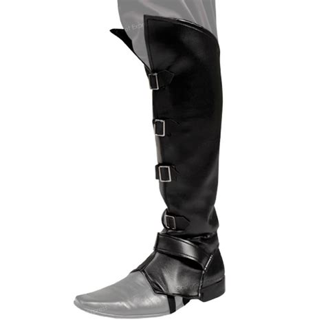 mens ladies black boot top covers medieval peter pan