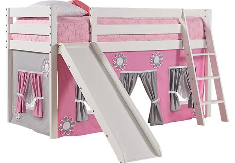 White Bunk Bed With Slide Pink Cottage White Jr Tent Loft Bed With Slide Beds White