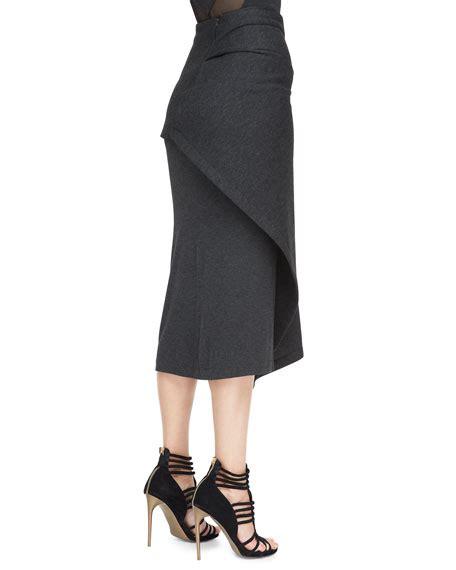 donna karan draped jersey midi skirt charcoal