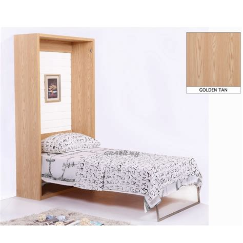 space saving size bed vertical wall bed golden single size space