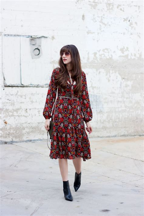 a fall floral midi dress and a teacup
