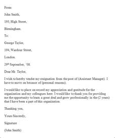 Formal Letter Of Resignation Exle by Formal Resignation Letter 40 Free Documents In Word Pdf