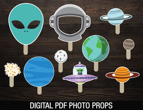 Outer Space Decorations Space Photobooth Props Printable Party Photo Props