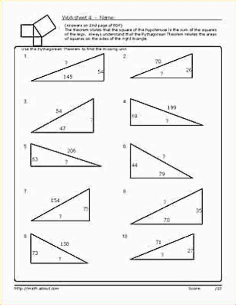 Pythagorean Theorem Worksheet Answers by 8 Pythagorean Theorem Worksheet Academic Resume Template