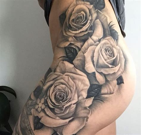 skull and rose tattoo on thigh 25 best ideas about thigh on hip