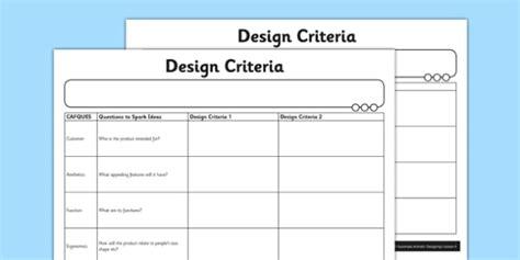 design criteria exle ks2 automata animals design criteria worksheet activity sheet