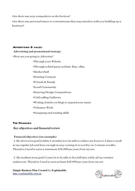 small business plan template formsword word templates sample