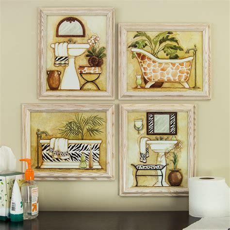 framed art for bathroom walls safari 8x10 framed bathroom wall art set in white ebay