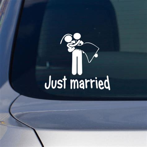 Auto Sticker Just Married by Stickers Et Autocollants Voiture Sticker Just Married
