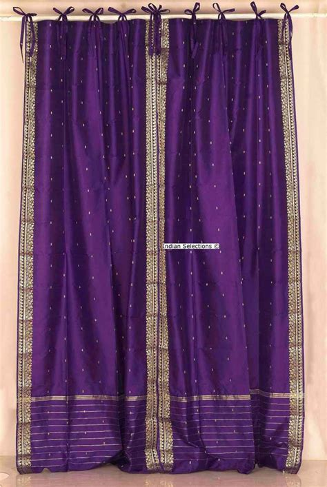 Purple Tie Top Sheer Sari Curtain Drape Panel Pair