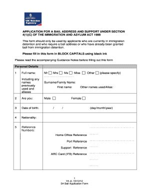 section 4 asylum support application for a bail address and support under section