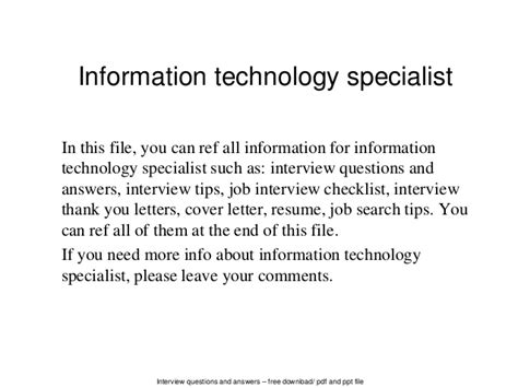 Information Technology Specialist by Information Technology Specialist