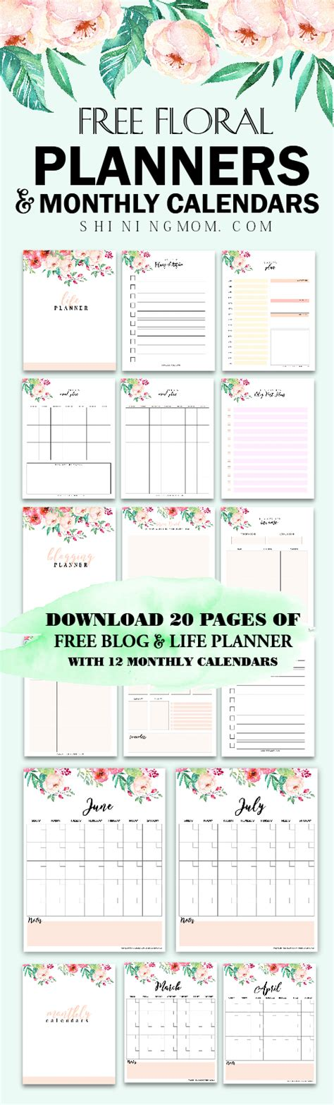 printable planner pages 2018 free printable 2018 monthly calendar and planner