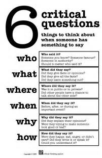 Exles Of Critical Thinking Essays by Slap Up 1 6 Critical Questions Critical Thinking Asylum