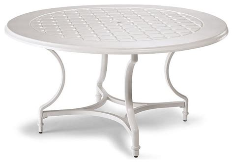 grayson round outdoor dining table in white finish patio