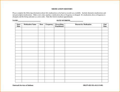 blank medication list templates medication list template authorization letter pdf