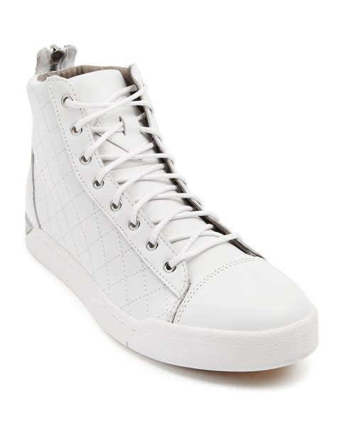 white sneakers for diesel tempus white sneakers in white for lyst