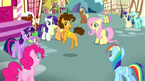 the color of friendship cast imagem mane 6 looking at cheese while singing