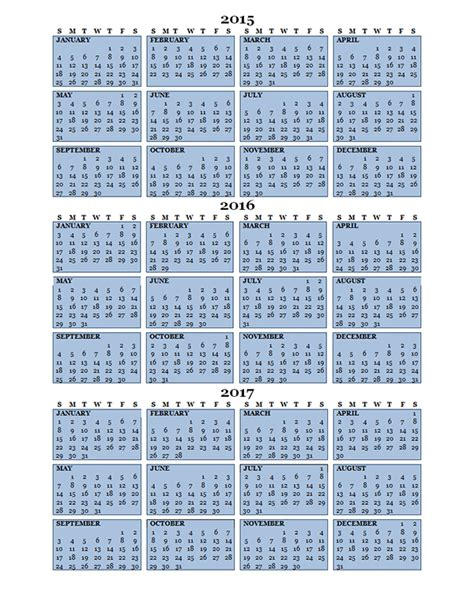 three year calendar template 2016 three year calendar free printable templates