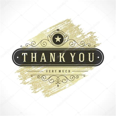thank you card illustrator template thank you typography message vintage greeting card design