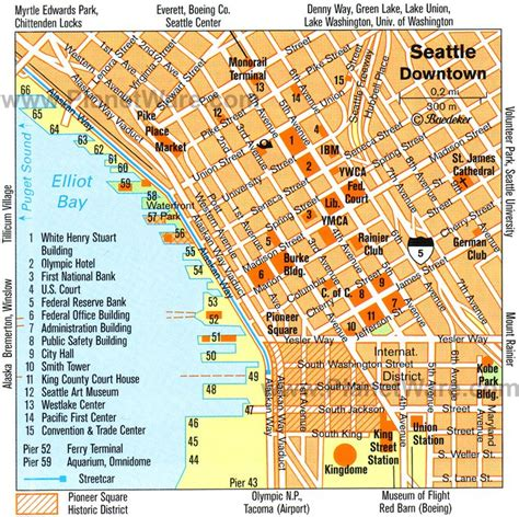 printable seattle area map seattle usa cruise port of call
