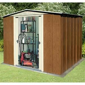 storemore oakdale metal garden shed wood effect finish