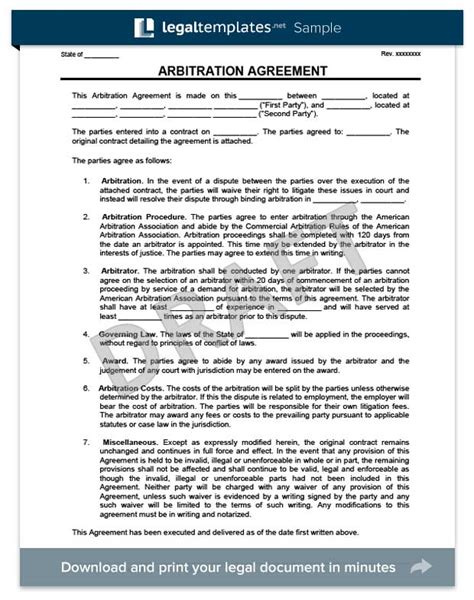 arbitration agreement form create a free arbitration