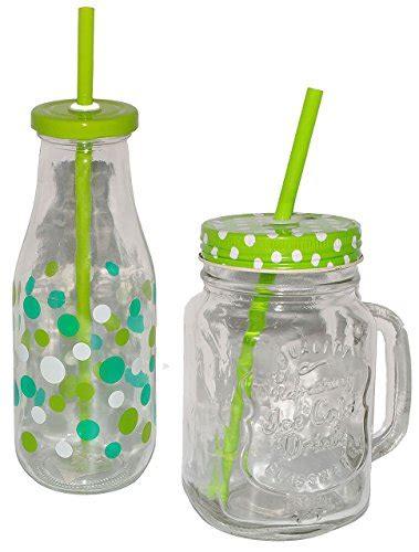 Bunte Lenschirme Aus Glas by Set Henkelbecher Trinkflasche Aus Glas Mit Strohhalm