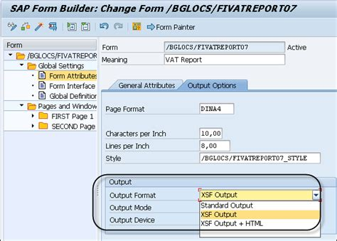 layout user specific sap sap smart forms output types
