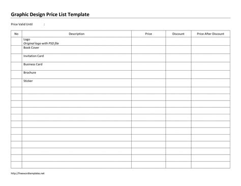 price list design template price list word templates free word templates ms