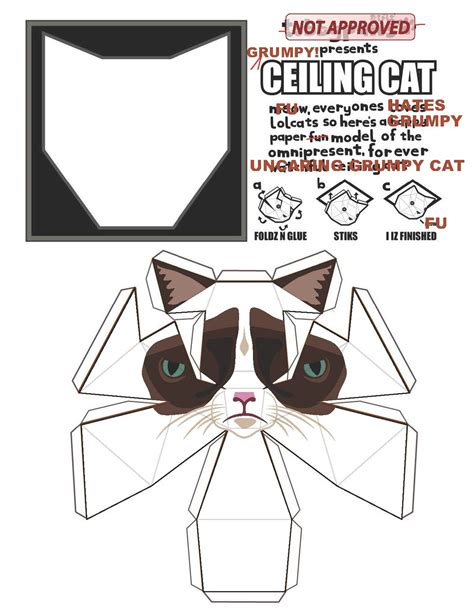 Ceiling Cat Papercraft - grumpy cat paper model all the things i like