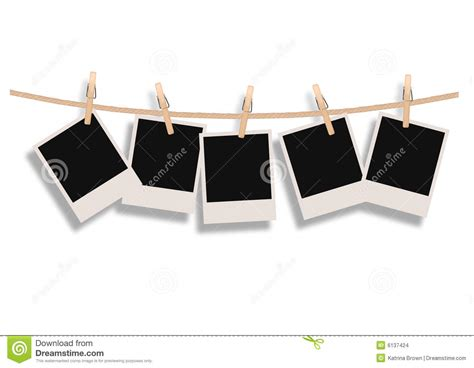 hang pictures polaroids hanging on a rope stock vector illustration of