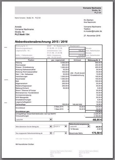 Muster Formular Nebenkostenabrechnung nebenkostenabrechnung eigentumswohnung excel vorlagen shop