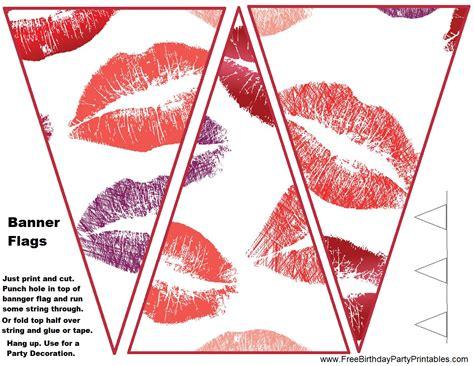 free printable birthday bunting banner diy birthday blog free lipstick kisses birthday party