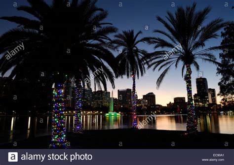 lake eola christmas lights orlando florida usa 8th dec 2014 palm trees are decorated with stock photo royalty free
