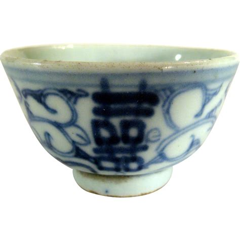 L Shops by Antique Blue White Happiness Tea Cup From