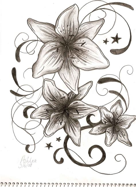 star lily tattoo designs flower tattoos