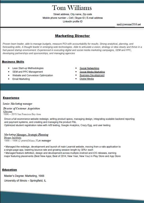 Resume Layout Exles 2016 Resume Format 2016 12 Free To Word Templates